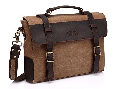 Vaschy Unisex Classic Leather Shoulder Bag Satchels Briefcase with Detachable Strap - Shoulder Classic Vintage Bag
