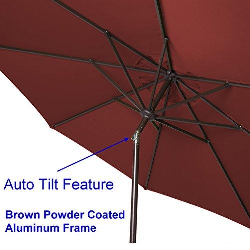 Bayside21 9 Sunbrella Auto Tilt Patio Market Umbrella – Red