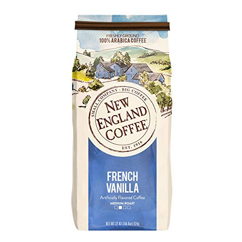 New England Coffee French Vanilla, Medium Roast Ground Coffee, 22 Ounce Bag
