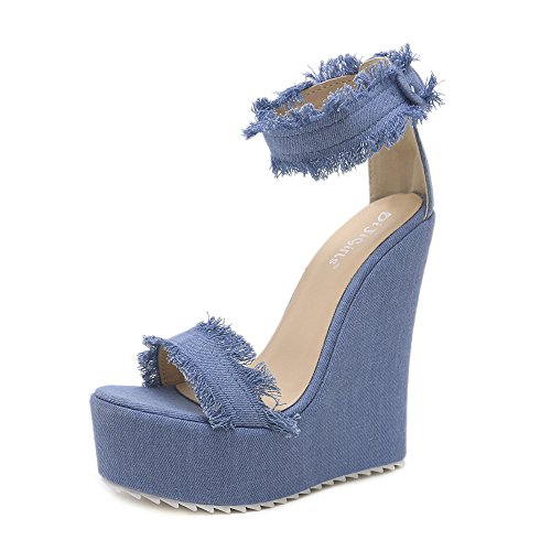 Girl's Toe Rabbit Summer Evening sandals Platform Lady Open Buckle Shoes Sandal women Ankle style sandal Lovely Wedge High Wedge Fastening qRTdZqzw