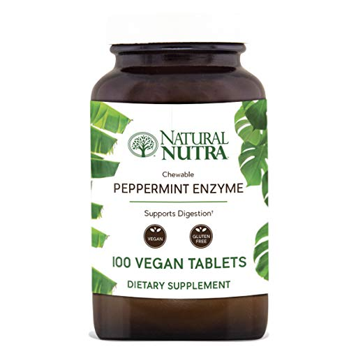 Natural Nutra Chewable Peppermint Digestive Enzyme Supplement, Plant Based, Papaya (Papain), Amylase, Pineapple (Bromelain), Lipase, and Protease, Vegan and Vegetarian, 100 Tablets