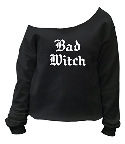 [Halloween Bad Witch Costume Graphic Design Crop Top Sweatshirt - Small/Medium (Black)] (Cheap Offensive Halloween Costume Ideas)