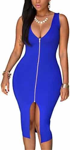 YMING Women Sexy Front Zipper Bodycon Bandage Midi Evening Dress Plus Size  S-4XL 7f5e3313d