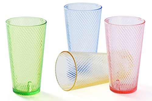 Cheap 14 oz Acrylic Drinking Glasses Set Colored Plastic Tumblers Cups Highball Glasses Glassware Drinkware for Kids Beverage Water Juice Restaurant Kitchen Glasses for Outdoor Picnic Camping Pool BPA Free