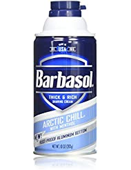 Barbasol Arctic Chill with Menthol Thick and Rich Shaving Cream for Men, 10 Ounce