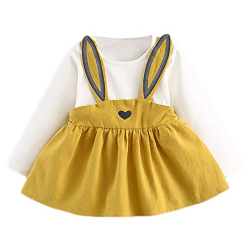 (Xturfuo Baby Mini Dress Autumn Kids Clothes Toddler Girl Cute Rabbit Bandage)