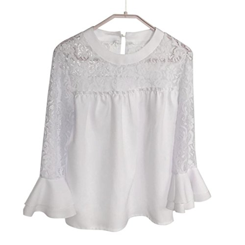 ... Amlaiworld Chiffon Spitze Flickwerk T-shirt Damen sommer locker basic  Oberteile mode strand Tops Bluse c0345390d6