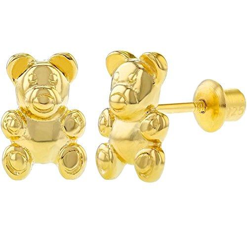 (925 Sterling Silver Kids Children's Teddy Bear Earrings Screw Back)