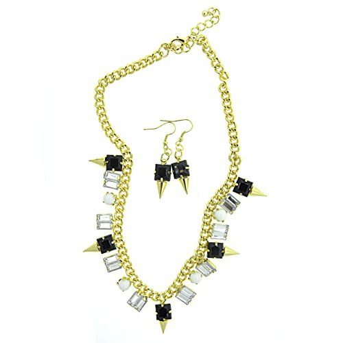 KC Signatures Gold Plated Necklace & Earrings Jewelry Set with Petite Resin Stones (Black)