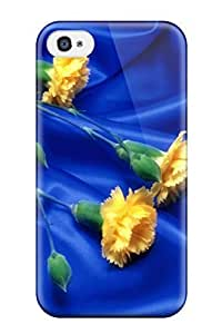 For ZippyDoritEduard Iphone Protective Case, High Quality For Iphone 4/4s Rose Art Yellow On Blue Atlas Chequers Nature Flower Skin Case Cover