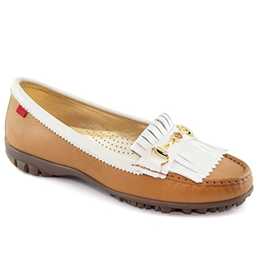 Marc Joseph New York Women's Fashion Shoes Lexington Golf Tan Grainy With Patent Kilt Moccassin Size (Tan Womens Golf Shoe)