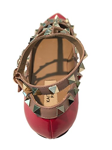 Kaitlyn Pan - Spitzverzierte Strappy Caged Ballerina Leather Flats Red Patent / Nude Trim / Gold Ohrstecker