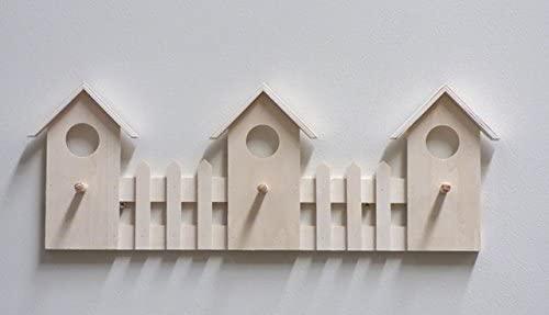 Color Blanco y Madera Natural Atmosphera Burro Perchero para Ropa en Forma de casita para habitaci/ón Infantil
