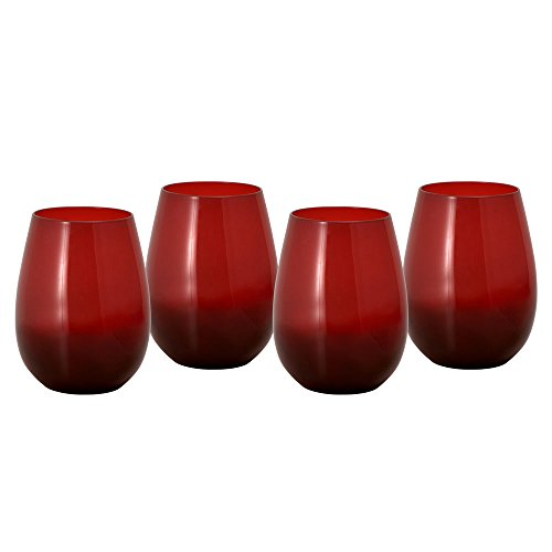 Pfaltzgraff Winterberry Red Stemless Wine Glass (20-Ounce, Set of (Winterberry Bouquet)