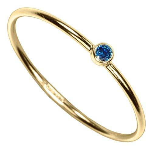uGems 14kt Gold Filled Aqua Blue CZ Stacking Ring Size 7