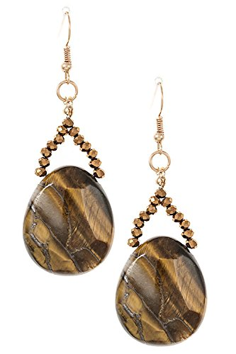 Trendy Fashion Jewelry Faceted Dangle Stone Earring By Fashion Destination | (Tiger (Clip Tigers Eye Earrings)