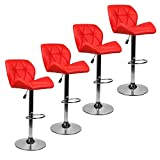 Cheap Bar Stools Modern Hydraulic Adjustable Swivel Barstools, Leather Padded Back, Dinning Chair Chrome Base, Red, Set of 4