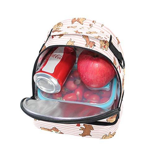 avec motifs Alinlo Cooler mignon Sac lunch Pincnic Boîte à bandoulière l'école pour isotherme Tote à Chien réglable x05HOnqzx