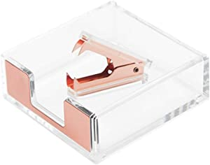 Clear Acrylic Rose Gold Self-Stick Note Cube Holders | Staple Removers Set Desktop Memo Pad Dispenser 3.5x3.3 Inch | Staples Removal Tool for Office School Supplies (Rose Gold)