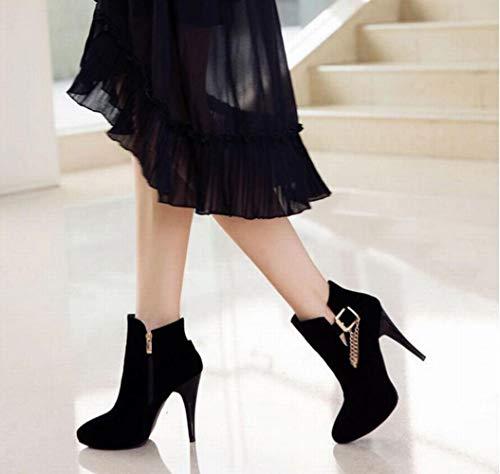 E Alto 42 scarpe Stivali Scarpe Donna Stivali Martin nero Punta Autunno stivali Spillo A Ig 35 Primavera Da Tacco 43 wRpxSSqI