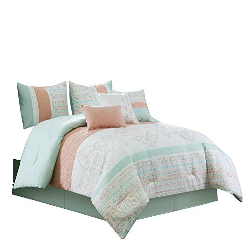 (Chezmoi Collection Laura 7-Piece Coral Mint Geometric Embroidered Pleated Striped Comforter Set, King, White)