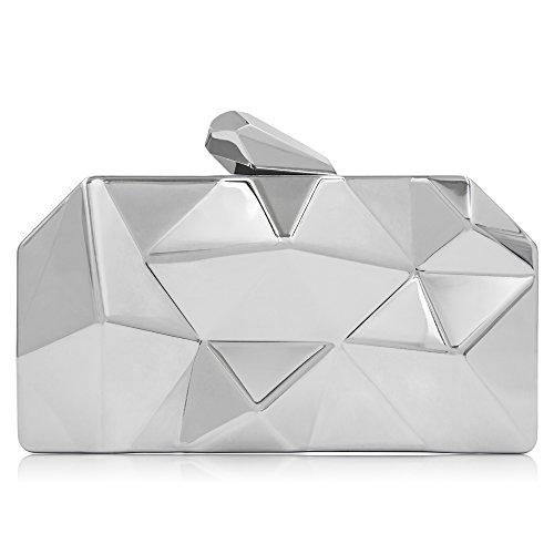 Milisente Women Fashion Metal Evening Handbags Geometric Clutches Purses Bag (Silver) (Evening Handbag Fashion)