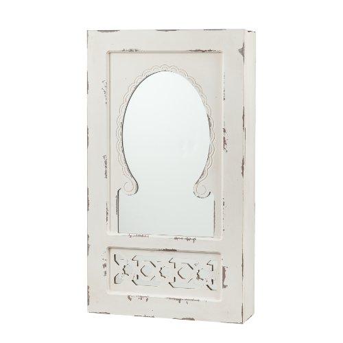 Gilmore Shabby Chic Wall Mount Jewelry Mirror (Antique Brass Rub)