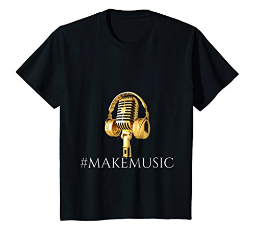 "Price comparison product image Kids ""Musician"" ""Gold Microphone and Headphones "" T-Shirt 8 Black"