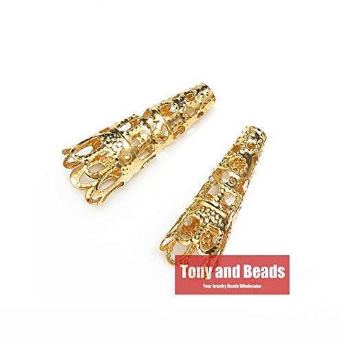 - Pukido (50Pcs=1Lot !) Jewelry Finding 9x22MM Bugle Filigree Bead End Cap Cone Gold Silver Bronze Nickel Plated No.BC8 - (Color: Gold PLT)