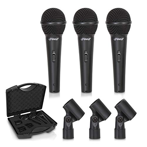 Pyle 3-Piece Professional Dynamic Kit-Cardioid Unidirectional Vocal Handheld Microphone with Hard Carry Case & Mic Holder/Clip, Wicked Purple (PDMICKT80.5) (Mic Windscreens Accessories)