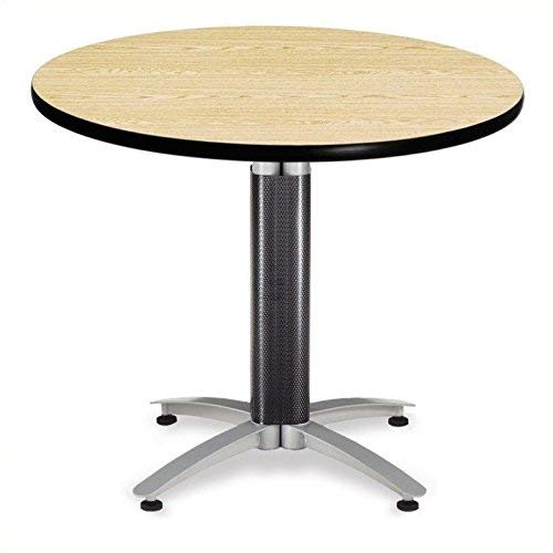 OFM 36'' Multi-Purpose Round Table with Metal Mesh Base, Oak (MT36RD-OAK) by OFM