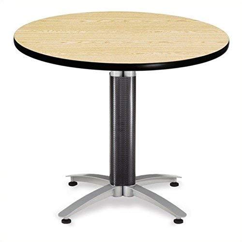 "OFM 36"" Multi-Purpose Round Table with Metal Mesh Base, Oak (MT36RD-OAK)"