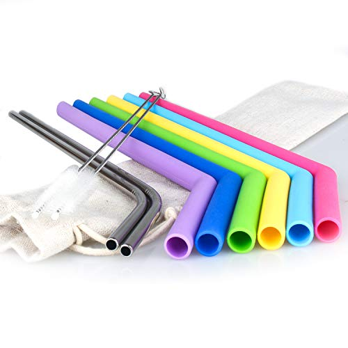 Reusable Silicone Drinking Straws Set of 6 + 2 Stainless Steel Straws,2 Brushes + 1 Linen Pouch,REGULAR SIZE Straws for 30&20 OZ Yeti/Rtic / Ozark Tumblers - Bpa-free - No Rubber Tast