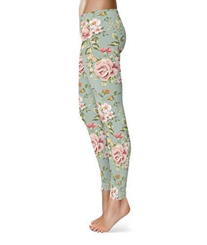 Pastel Floral Wallpaper Fleece Leggings - M XS-3XL