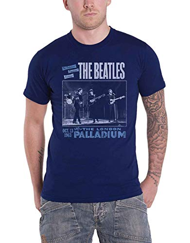 (The Beatles T Shirt Live at The Palladium 1963 Poster Official Mens Navy Blue Size XL)