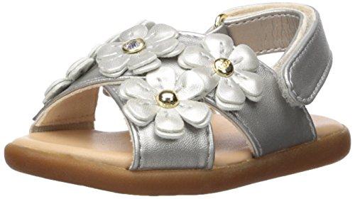 UGG Girls I Allairey Shimmer Flat Sandal, Silver, 2-3 M US Infant ()