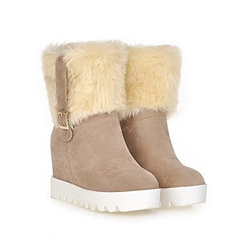 Toe Allhqfashion Round Beige Pull on Frosted High Solid Boots Women's Closed Heels rxSrqY
