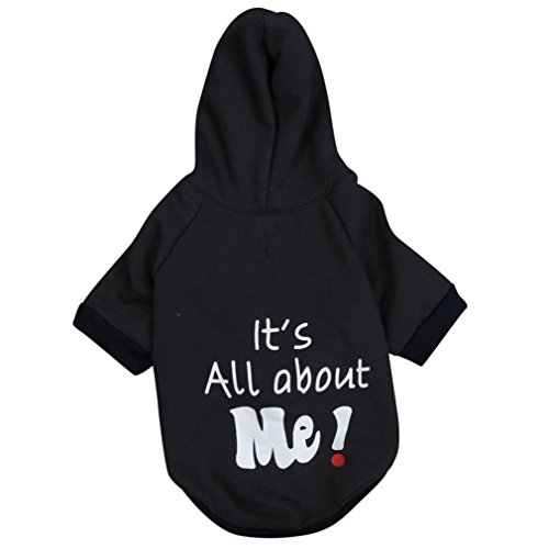 2017 Hot Pet Hoodie! AMA(TM) Pet Puppy Small Dog Soft Warm Clothes Chihuahua Flannel Hooded Jumpsuit Hoodie Doggy Jacket Coat Outwear Apparel (XS, Black 1) -