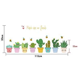 "Wall Sticker Window Decals Pot Flower Cactus Vinyl Decor DIY ""Pot Culture"" N@N"