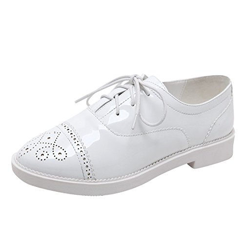 Retro White Women's Carolbar Lace Comfort Oxfords up Fashion Leather Patent Shoes fUvvqxwO