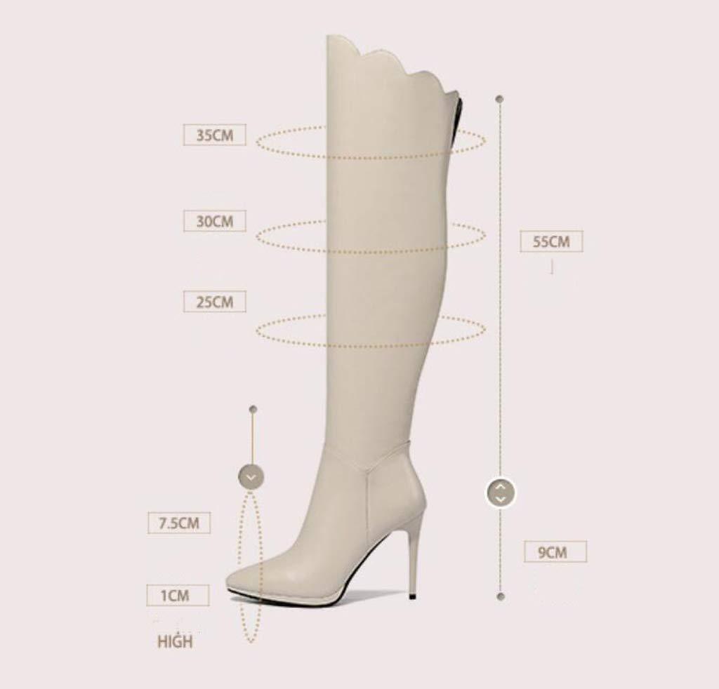XHCP Stiefel Damen Leder Stiletto Stiefel Spitz Lange Knie Stiefel Damen Stiefel,Weiß,39
