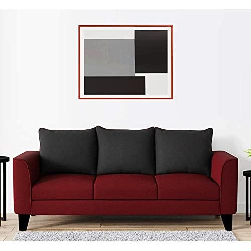 Euskara Homes Rigon 3 Seater Fabric Sofa  Red