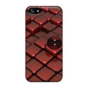 First-class Case Cover For Iphone 5/5s Dual Protection Cover Red Glass On Box Floor