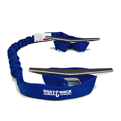 Hook & Cord Boat Dock Tie Bungee, Made in USA, 2 Loop Pack of 2, 30 inch Long (Blue, 30 Inch)