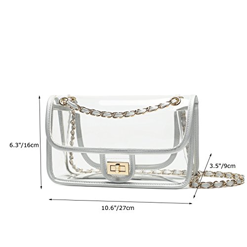 Clear Handbags Bags Womens Lam Gallery NFL Purse Turn Shoulder Lock Bags Approved Silver Chain wUYqEqz5
