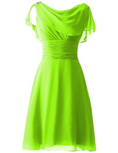 verde Abiti Limone damigella HUINI da d'onore Perline festa paillettes Abiti Ballo Corto fine Cap formali Sleeves di anno wzRqT7awp