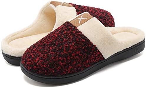 welltree Pantofole da Uomo Bicolore in Memory Foam in Caldo Cotone Invernale Antiscivolo