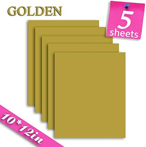 Heat Transfer Iron On Vinyl for T-Shirts 5 Pack 10x12\u201dHTV Vinyl Sheets Golden / Heat Transfer Iron On Vinyl for T-Shirts 5 Pack 10x12\u201dHTV Vinyl Sheets Golden
