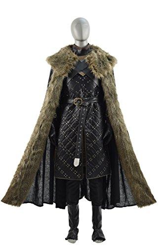 Jon Snow Cloak Costume (Cosdaddy Game of Thrones Nights Watch Jon Snow Battle Armour Cosplay Costume with Cape (XL, fullset))