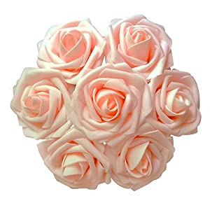 J-Rijzen Jing-Rise Artificial Flowers Real Looking Fake Roses with Stem for DIY Wedding Bouquets Centerpieces Party Baby Shower Home Decorations (Blush, 30pcs Standard) 12
